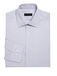 Ike By Ike Behar Checkered Cotton Dress Shirt Purple