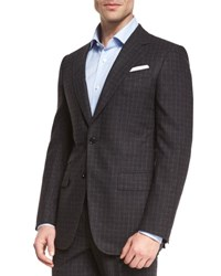 Ermenegildo Zegna Check Two Piece Suit Charcoal