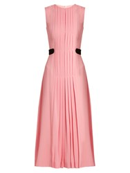 Emilia Wickstead Jolley Pleated Wool Crepe Dress Pink