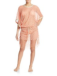 Luli Fama South Beach Open Knit Coverup Beachy Coral