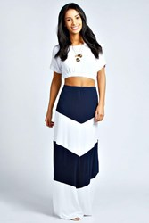 Boohoo Large Striped Jersey Maxi Skirt Navy