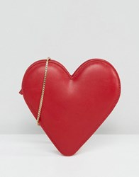 Lulu Guinness Red Leather Heart Cross Body Bag
