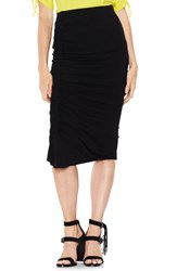 Vince Camuto Asymmetrical Side Ruched Pencil Skirt Rich Black