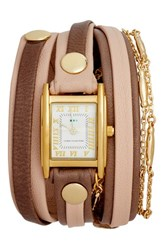 La Mer 'S Collections Leather And Lipari Chain Wrap Watch 25Mm Blush Grey Gold