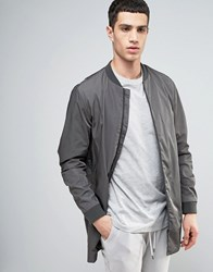 Selected Homme Longline Bomber Jacket Gray