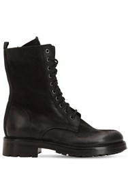 Elena Iachi 30Mm Washed Leather Combat Boots Black
