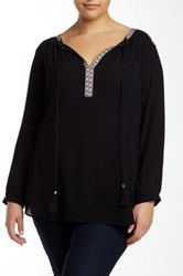 Daniel Rainn Printed Tape Blouse Plus Size Black