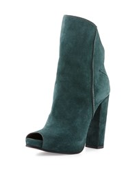 Cnc Costume National Peep Toe Suede Ankle Boot Forest Green