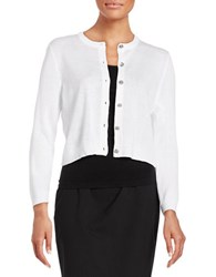 Karl Lagerfeld Cropped Button Front Cardigan Blanc