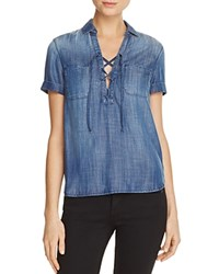 Mavi Jeans Lilly Lace Up Shirt Dark Blue Gold