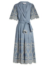 Luisa Beccaria Broderie Anglaise Linen Blend Dress Blue