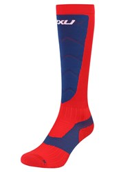 2Xu Elite Alpine Xlock Compression Knee High Socks Navy Red Dark Blue