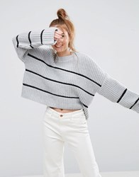 Asos Chunky Sweater With Contast Ladder Stitch Gray
