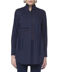 Akris Punto Lace Trim Stand Collar Blouse Navy