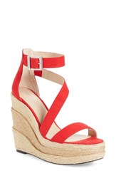 Charles By Charles David Women's Thunder Wedge Sandal Red Micro Suede