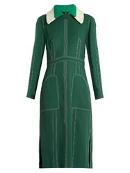 Burberry Detachable Collar Crepe Dress Green