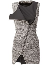 Bouchra Jarrar Tweed Zipped Fitted Dress Black