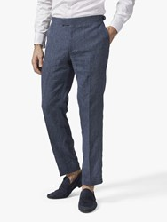 Richard James Mayfair Italian Linen Suit Trousers Navy