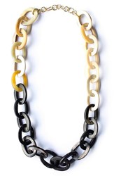 Women's Soko Horn Chain Link Necklace Black Natural
