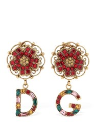 Dolce And Gabbana Crystals Roses Dandg Earrings Multicolor