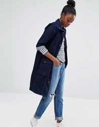 Only Denim Parka Coat Dark Blue Denim