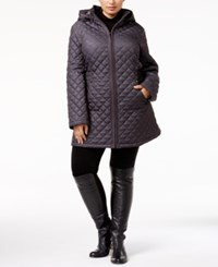 Laundry By Shelli Segal Plus Size Hooded Quilted Puffer Coat Pitch Black
