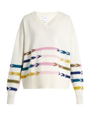Barrie Summer Sailor V Neck Cashmere Sweater White Multi