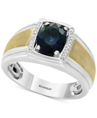 Effy Men's Sapphire 1 7 8 And Diamond Accent Ring In Sterling Silver And 14K Gold Blue