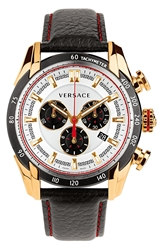Versace 'V Ray' Chronograph Leather Strap Watch 44Mm Black Rose Gold