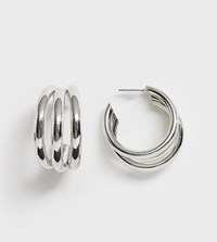 Glamorous Silver Triple Hoop Earrings