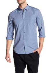 Vince Long Sleeve Chambray Trim Fit Shirt Blue