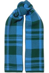 Markus Lupfer Checked Wool Jacquard Scarf Blue