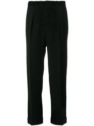 Roland Mouret Straight Leg Tailored Trousers Polyester Acetate Wool Black
