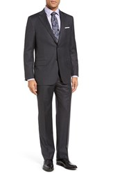 Hickey Freeman Men's Big And Tall 'Beacon B Series' Classic Fit Wool Suit Charcoal