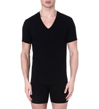 Calvin Klein Pack Of Two V Neck Stretch Cotton T Shirts Black