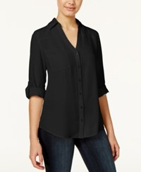 Amy Byer Bcx Juniors' Roll Tab Blouse Black