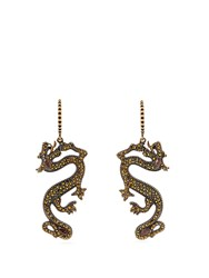 Valentino Dragon Crystal And Strass Embellished Earrings Gold
