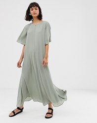 Weekday Oversized Maxi Dress With Flared Sleeve In Sage Green