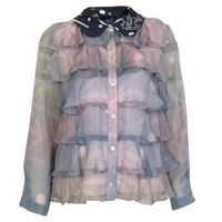 Supersweet X Moumi Pearldrop Frilly Shirt Blue Silver Pink