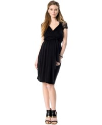 Seraphine Maternity Empire Waist Lace Back Dress Black