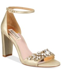 Badgley Mischka Barby Ankle Strap Evening Sandals Women's Shoes Platino