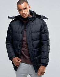 D Struct Padded Faux Fur Lined Hooded Jacket Black
