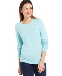 Jm Collection Crew Neck Solid Button Sleeve Sweater Angel Blue