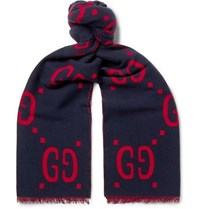 Gucci Fringed Logo Jacquard Brushed Wool And Silk Blend Scarf Navy