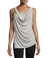 Minnie Rose Drape Front Tank Light Gray