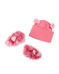 Ugg Pinkipuff Sheepskin Booties And Wool Beanie Hat W Ear Details Baby