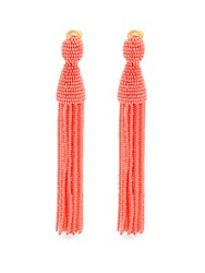 Oscar De La Renta Bead Embellished Tassel Drop Clip On Earrings Coral