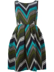 P.A.R.O.S.H. Zig Zag Print Belt Dress Green