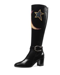 Gucci Dionysus Star And Moon Leather Boot Black