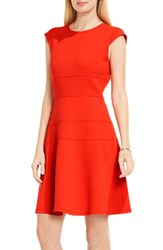 Vince Camuto Women's Seam Detail Fit And Flare Dress Dynamic Red